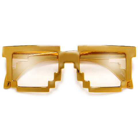 Nerdy Gamer Gold 8-Bit Pixelated MineCraft Video Game Inspired Eyewear