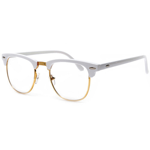 Retro Inspired Half Frame Semi-Rimless White / Gold Clear Lens ...