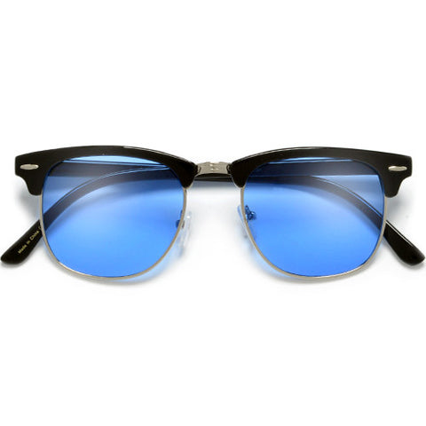 52mm Modern Ultra Slim Cut Out Bottom Rim Half Frame Sunglasses