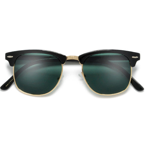 Retro Half Frame Semi-Rimless Colored Lens Clubmaster Style Sunglasses