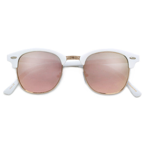 Colorful Reflective Mirrored Lens Classic Clubmaster Sunglasses