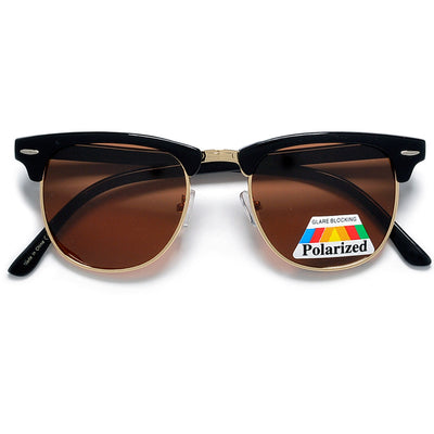 Polarized Retro Half Frame Semi-Rimless Sunglasses