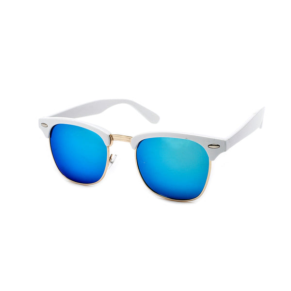 Retro Inspired White Half Frame Semi-Rimless Revo Lens Sunglasses