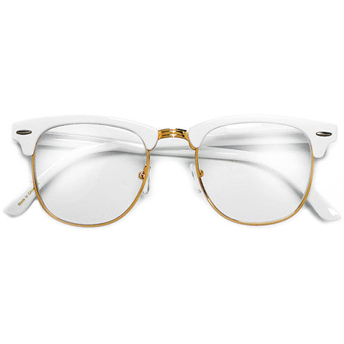 f1c4d0f97f Retro Inspired Half Frame Semi-Rimless White   Gold Clear Lens Eyewear