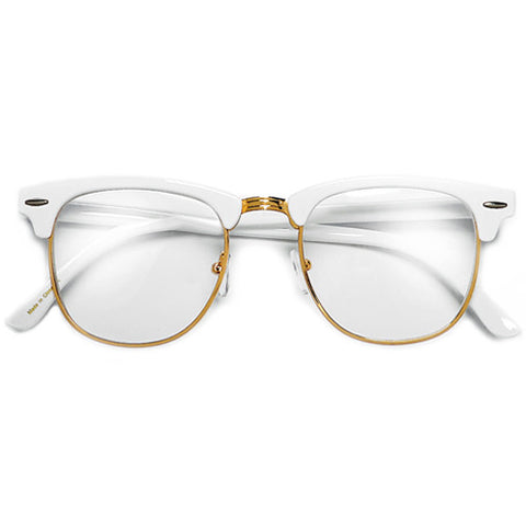 Retro Inspired Half Frame Semi-Rimless White/Gold Clear Lens Clubmaster Style Glasses