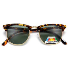 Polarized Retro Half Frame Semi-Rimless Clubmaster Style Sunglasses