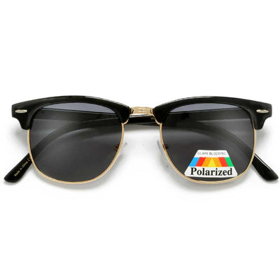 Polarized Retro Half Frame Semi-Rimless Sunglasses - Sunglass Spot