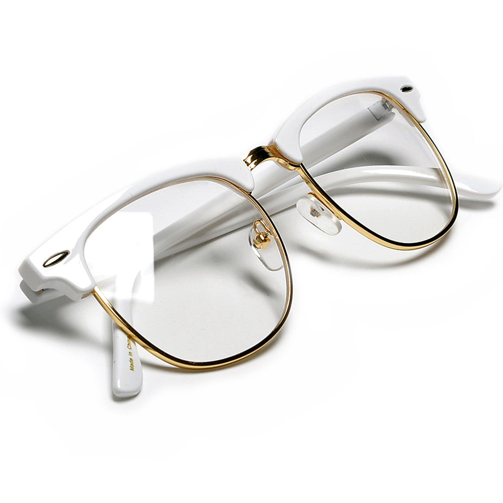 Crystal /& Gold Frame CLASSIC VINTAGE Style Clear Lens EYE GLASSES Transparent