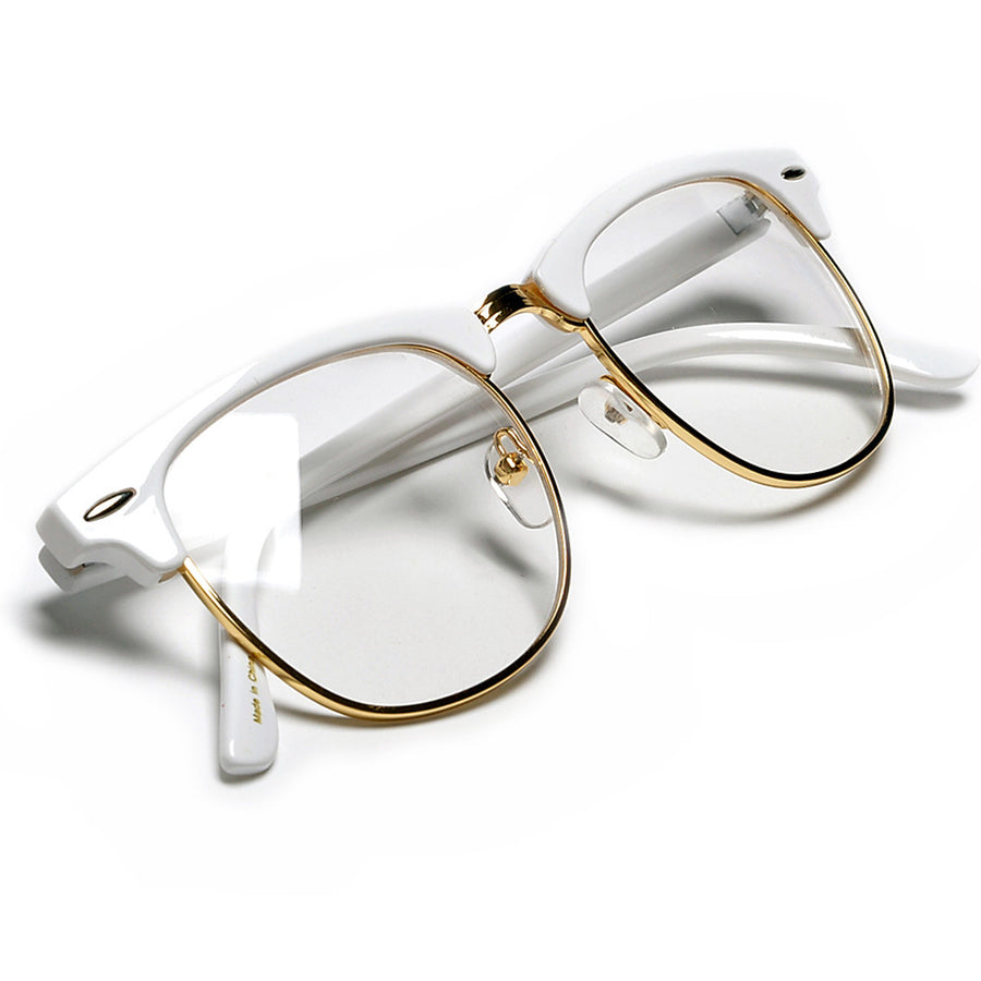 Retro Inspired Half Frame Semi-Rimless White / Gold Clear Lens Eyewear - Sunglass Spot