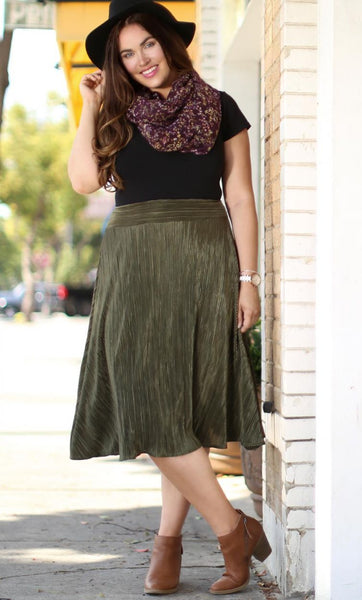A Crinkle in Time Skirt - Olive Martini