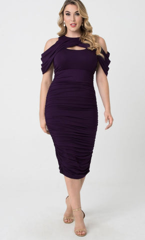 Bianca Ruched Dress - Plum