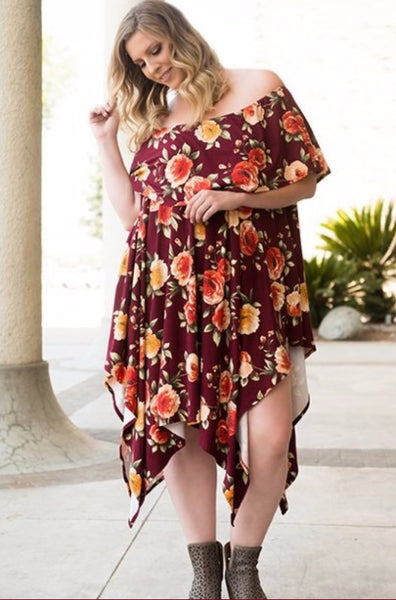 Kelly Tunic Dress- Burgundy Floral