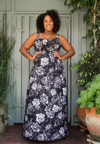 Kathryn Maxi Dress - Black and White Floral