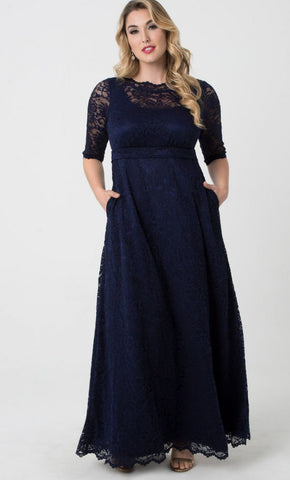 Leona Lace Gown - Navy