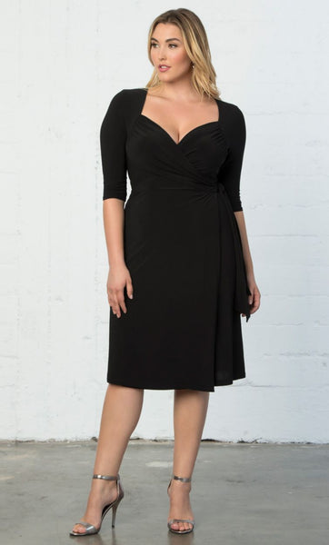 Sweetheart Knit Wrap Dress - Black