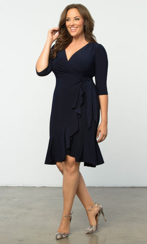 Whimsy Wrap Dress - Navy Blue