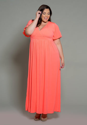 Classic Maxi Dress - Bright Peach