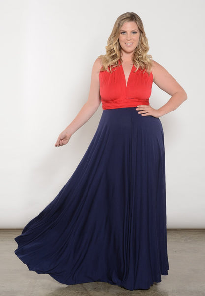 Eternity Convertible Duo Maxi Dress - Red/Navy