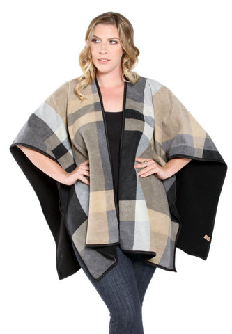 Fleece Poncho - Neutral