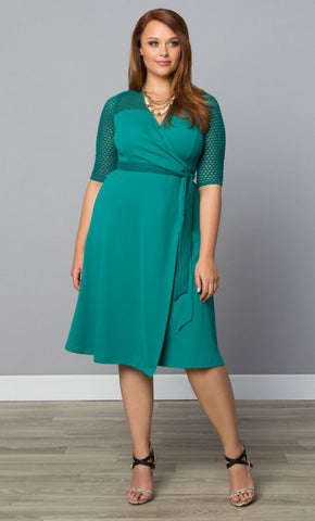 Honeycomb Wrap Dress - Teal