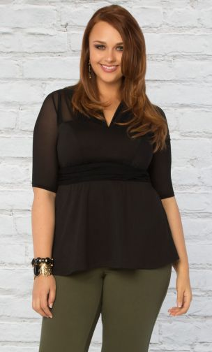 Pretty Peplum Mesh Top - Onyx