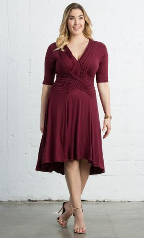 Refined Ruched Dress - Merlot
