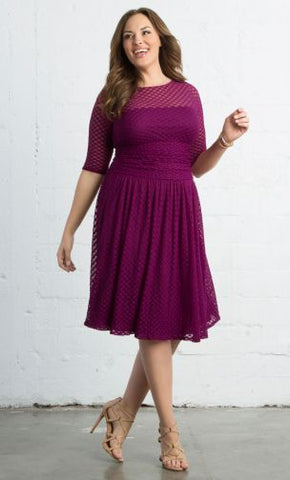 Alexa Retro Dot Dress - Rasberry Dream