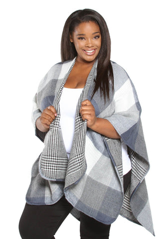 Reversible Plaid Poncho - Steel Blue