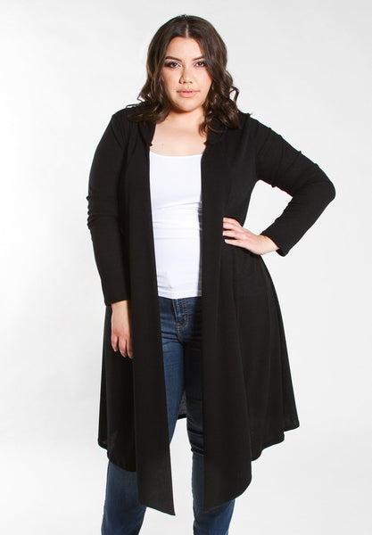 Ribbed Hooded Duster - Black