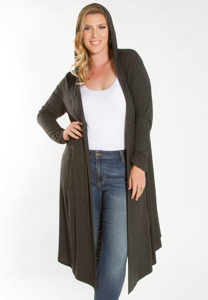 Ribbed Hooded Duster - Charcoal