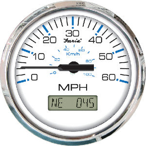 "Faria Chesapeake  SS 4"" Gauge - 60 MPH GPS Speedometer With LCD, Compass"