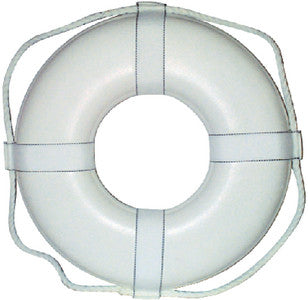 "19"" White Ring Buoy w/Strap USCG Approved"