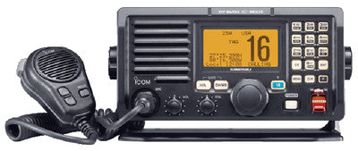 Icom Ultimate VHF Marine Transceiver With Built-in Class D DSC and RX Speaker Function (Front and Rear Panel Microphone Connection) - Black