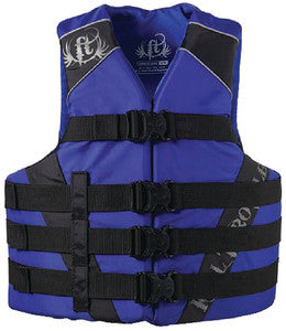 Adult Dual-Sized Nylon Waterports Vest, Blue L/XL