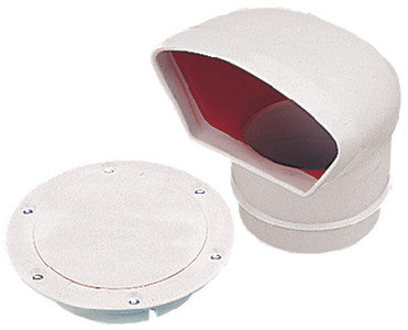 "3"" PVC Low Profile Cowl Vent, White w/Red Interior"