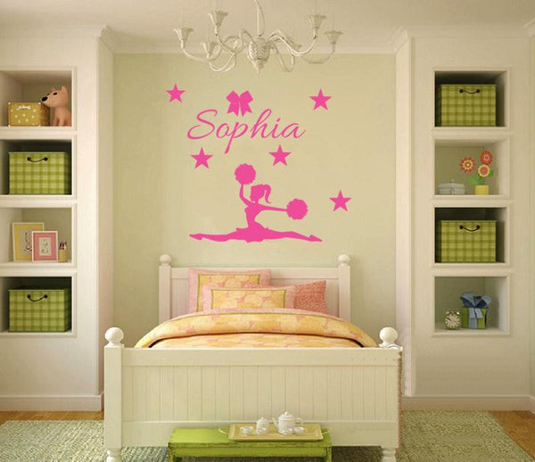 Personalized CUSTOMISE NAME & CHEERLEADER DIY Removable Wall Decal -cheerleader 5 Mural Wallpaper adesivo de parede D586