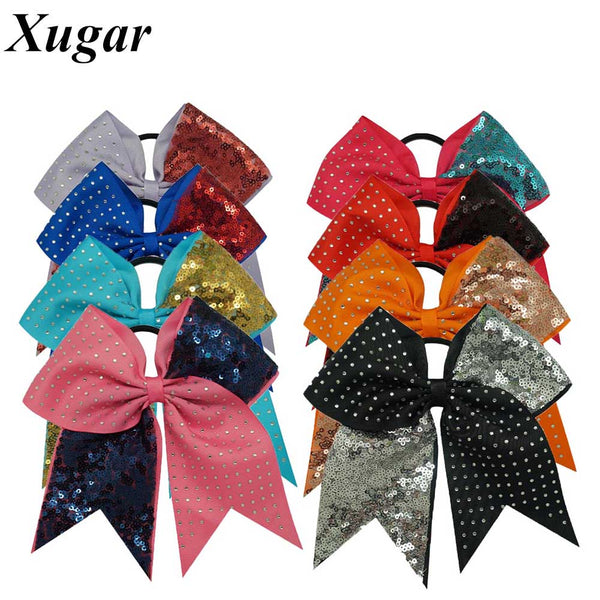 7'' High Quality Solid Sequins Rhinestone Boutique Grosgrain Ribbon Cheer Bow With Elastic Hair Bands For Cheerleading Girl