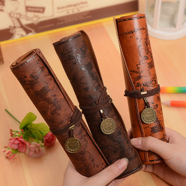 Vintage Retro Treasure Map Pencil Cases Luxury Roll Leather PU Pen Bag Pouch For Stationery School Supplies Make Up Cosmetic Bag