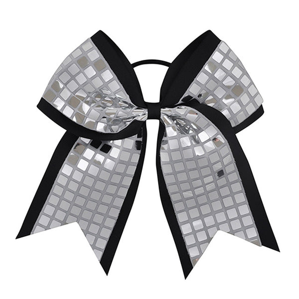 "Boutique 8""  Girl Big Cheerleading Hair Bows Bling Silver Sequin Plaid Cheer Bow With Elastic Bands For Ponytail Accessories"