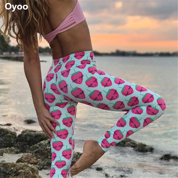 Oyoo Funny Strawberry printed athletic yoga leggings women running sport tights girls baby blue pineapple fitness legging