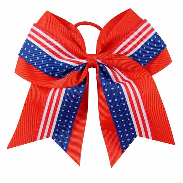 "6pcs/lot 7""4th Of July Cheer Bow Red American Flag Cheerleading Hair Bow Shcool Girls Hair Accessories"