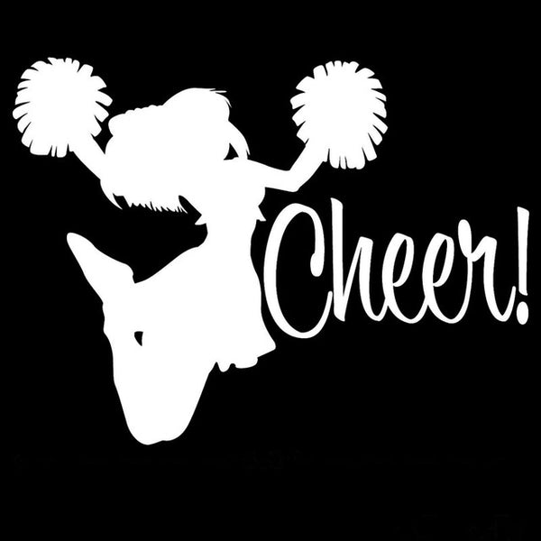 15.2CM*11.5CM Cheer ! Vinyl Car Decals Sticker Car Styling Cheerleader Cheering Jump Personality Decoration Black/Sliver C8-1390