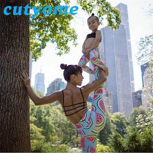 Mother Daughter Matching Clothes Fruit Printed Family Look Pants Outfits Mommy And Me Trousers Girls Women Leggings Clothing