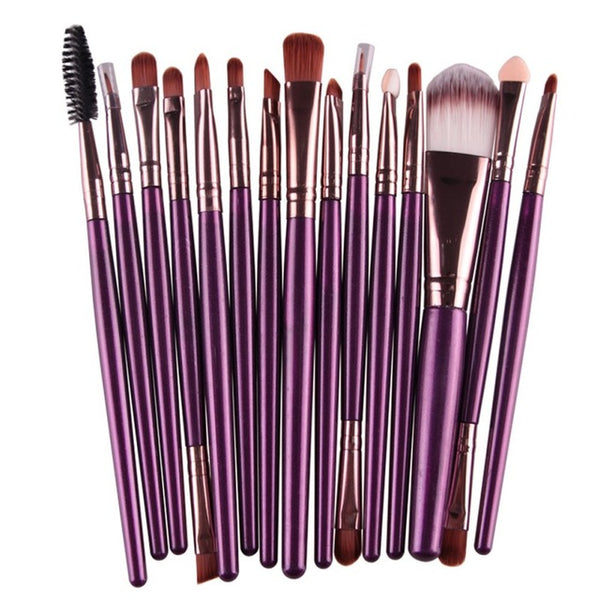 15 Pcs Professional Cosmetic Makeup Brush Women Foundation Eyeshadow Eyeliner Lip Brand Make Up Eye Brushes Set