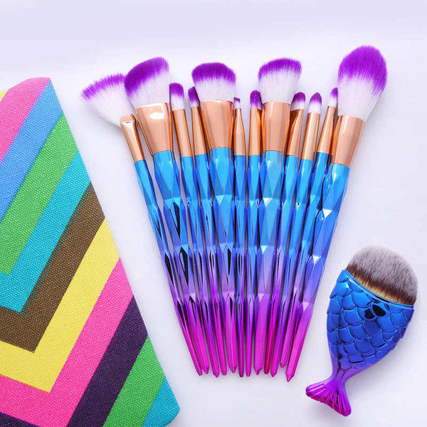 12Pcs Diamond Shaped Makeup Brush Set+Big Fish Tail Foundation Powder Eyeshadow Make up Rainbow Contour Blending Cosmetic Brush