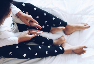 2017 Autumn New Fashion Mother and Kids Family Match Clothes Star Flora Print Elastic Capris Leggings Matching Clothing