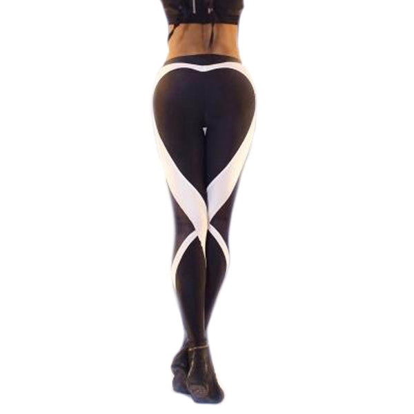 New Hot Sale Black Heart Mesh Hollow Leggings Women Fitness Workout Sporting Breathable Elastic Waist Gyming Exercise Clothing
