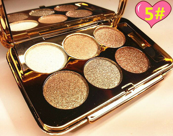 Professional 6 Colors Diamond Bright Colorful Makeup Eye Shadow Make Up Set Glitter Shining Smoked Eyeshadow Palette With Brush
