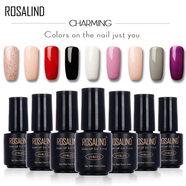 ROSALIND Primer Gel Nail Polish Black Bottle 7ML HOT SALE 29 COLORS Soak-Off UV LED Nail Art Nail gel varnishes