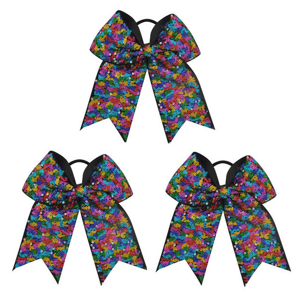 3pcs 7Inch Sequin Cheerleading Hairbow Glitter Grosgrain Ribbon Bow Elastic Band Ponytail Hair Holder Cheer Bows For Girls/Women